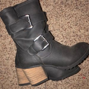 Gray Buckle Bootie